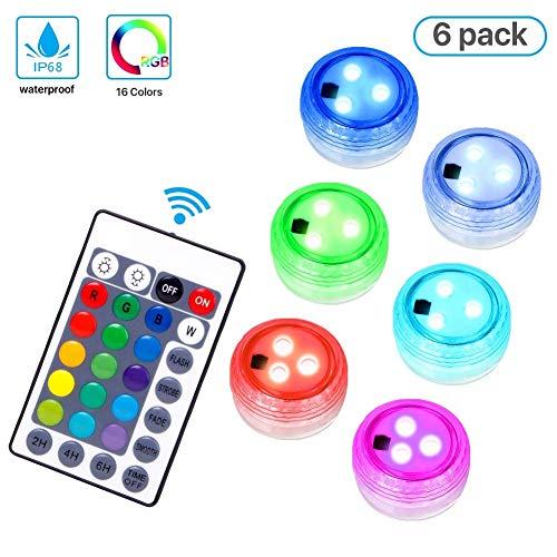 Actualización Luces LED sumergibles, control remoto impermeable de varios colores Luz de...