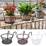 Allsmart Maceta de metal con barandilla, cestas colgantes de hierro para balcón, soporte para plantas de jardín
