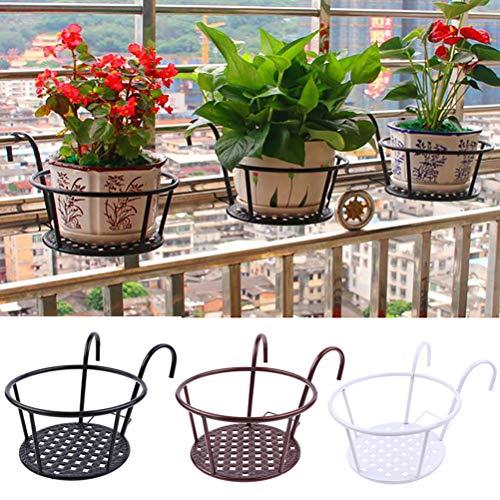 Allsmart Maceta de metal con barandilla, cestas colgantes de hierro para balcón, soporte para...