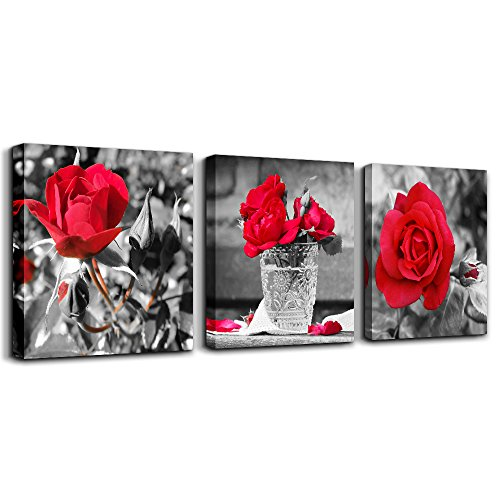 wall art for bedroom Simple Life Black and white rose flowers red Canvas Wall Art Decor 12' x 12' 3 Pieces Framed Canvas Prints Watercolor Giclee with Black Border Ready to Hang for Home Decoration