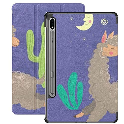 Compatible con Galaxy Tablet S7 Plus Funda de 12,4 Pulgadas 2020 con Soporte para bolígrafo S, Cartoon Llama Running Night Slim Stand Funda Protectora Tipo Folio para Samsung