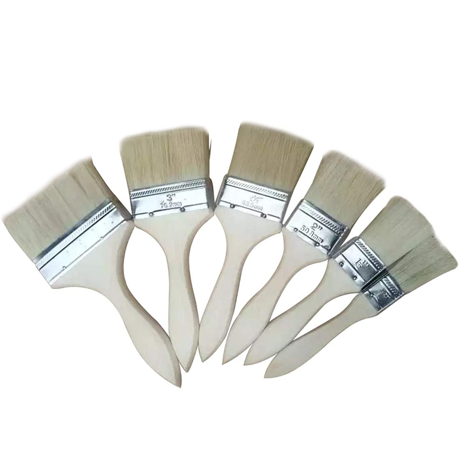 Brush Paint Stain Varnish Set with Wood Handles, Premium Bristle Paint Brushes, Paint Brushes for Paint, Stains, Varnishes, Glues