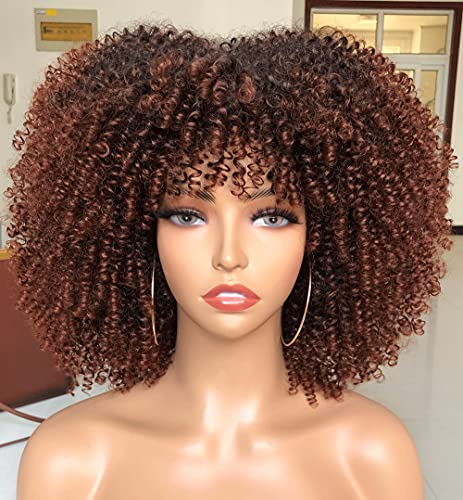 Afro Kinky Curly Wigs with Bangs for Black Women Short Ombre Brown Kinky Curly Wig High Temperature Natural Color Synthetic Hair Wig