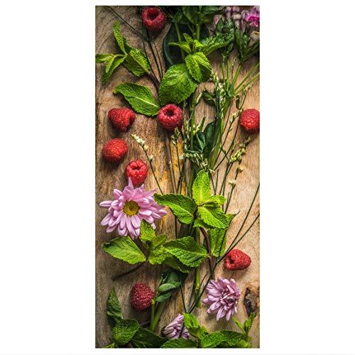 Raumteiler Blumen Himbeeren Minze 250x120cm inkl. transparenter Halterung