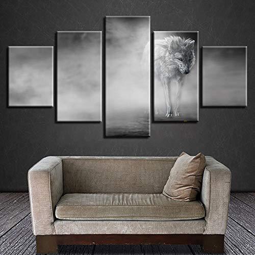 Canvas schilderij muurkunst 5 stuks High Definition muurschildering dier wolf afbeelding zwart en wit fotolijst muurkunst moderne canvas foto poster No Frame 30x40 30x60 30x80cm