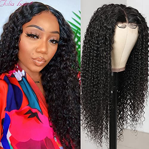 Julia Hair Curly Lace Front Wigs Human Hair Wig for Black Women 13x5 T Part Lace Wig 10A Malaysian Virgin Hair Jerry Curly Wigs Pre Plucked with Baby Hair 180% Density 16inch Natual Black Color
