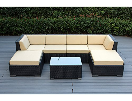 Hot Sale Ohana Collection pn0704SB Sunbrella Outdoor Patio Wicker Furniture 7-Piece Couch Set with Free Patio Cover, Beige