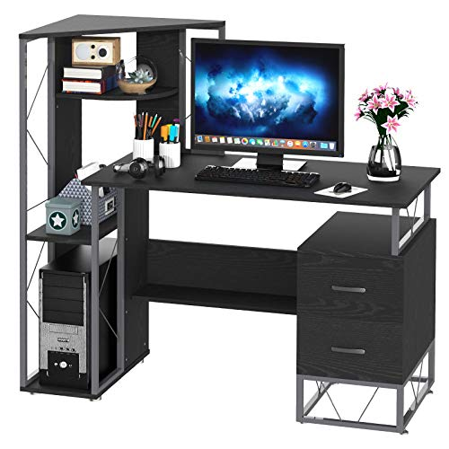 HomCom 52' Multi-Level Steel Wood Computer Workstation Desk with Shelves and Drawers, White/Oak