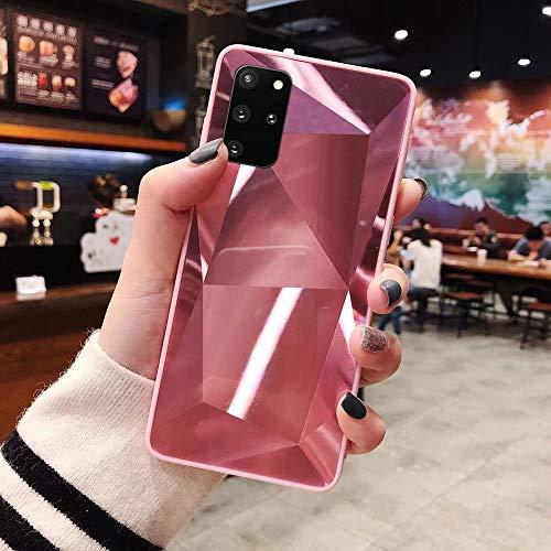 Herbests Kompatibel mit Samsung Galaxy S20 Plus Hülle Spiegel Schutzhülle Mädchen Frauen Glänzend Bling Glitzer Silikon Handyhülle Ultra Dünn Silikon Rückseite Glitzer Hülle Tasche,Rosa