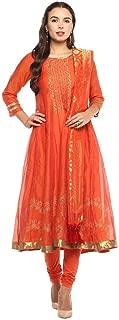 Imara Womens Round Neck Printed Churidar Suit