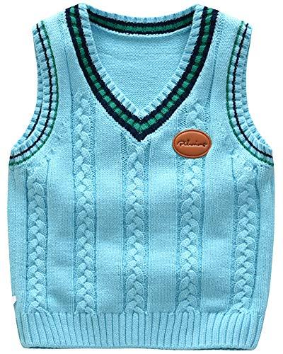 Niños Cuello en V Chaleco Vest Sweater Jerséis de Punto Sin Manga Jersey Azul 110cm