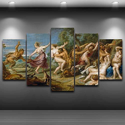 Poster HD Print schilderij 5 paneel Rubens Peter Paul Diana en haar feeën Canvas Decor Wall Art modulaire foto voor woonkamer