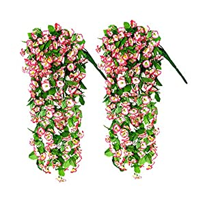 2pcs Artificial Hanging Flowers, 33.5 inch Vine Ratta Hanging Garland Hanging Plants Fake Silk Flowers for Indoor, Outdoor, Courtyard, Wall,Fence, Hanging Basket Decorated (Pink morning glory)