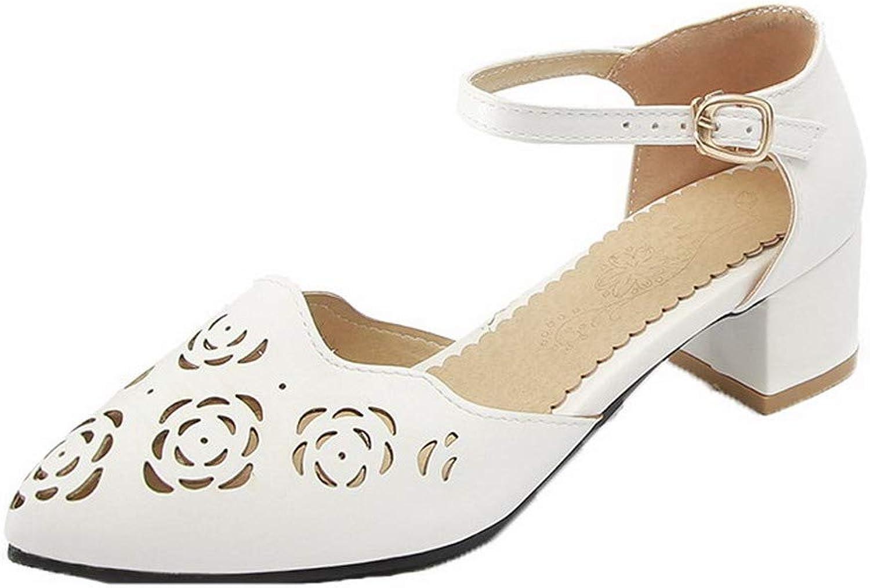 AllhqFashion Women's Closed-Toe PU Kitten-Heels Buckle Solid Sandals