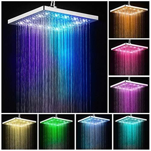 NGHXZ douche, badkameruitloop, douchekraan, regendouche, vierkant, LED-douchekop, 6 inch en 8 inch, zelfgenererende sproeier, kleurrijk vervagen