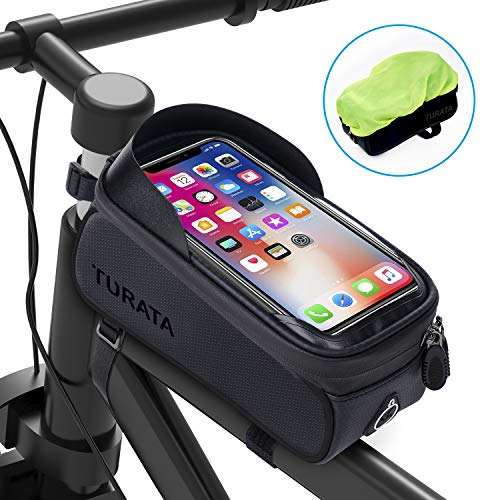TURATA Bike Bags Bicycle Front Frame Bag Waterproof Handlebar Cycling Top Tube Pannier Touch Screen Sun Visor Large Capacity Mobile Phone Holder Fits Phones Below 6.5 Inches (Black)
