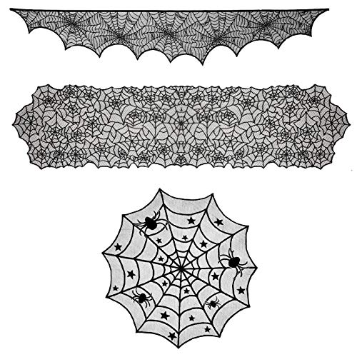 3 szt. Halloween dekoracje zestaw okrągły koronkowy obrus topper czarny pająk prostokątny obrus i dekoracje kominkowe koronka pajęczyna osłona okno kolacja impreza festiwal straszne noce