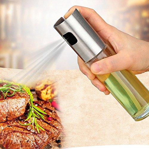 Ölflasche aus Glas, Ölspender, Ölspender von Oliva Spray BBQ Grill, Ölflasche, Ausgießer, präzise, rutschfeste Stahl, Griff aus Soja 17 X 4 cm Silber