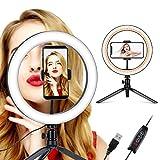 Coolwill LED Ringleuchte mit Stativ, 10.2' Selfie Ringleuchte Makeup dimmbar, Live Licht für...