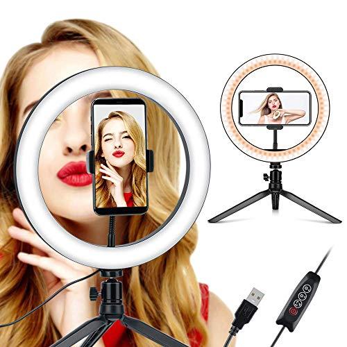 Coolwill - Luce ad anello per selfie da 10.2' e supporto flessibile per telefono per Live Stream/Trucco, Coolwill, per video YouTube, compatibile con iPhone/Android (10.2 pollici)