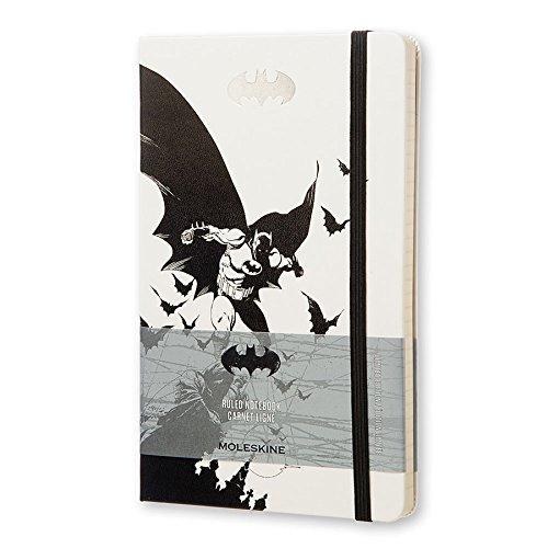 Cahier Moleskine Batman Edition Limitée, Cahier de Notes Ligné avec Graphiques sur le Thème Batman, Couverture Rigide, Grand format 13 x 21 cm, Blanc et Noir, 240 Pages