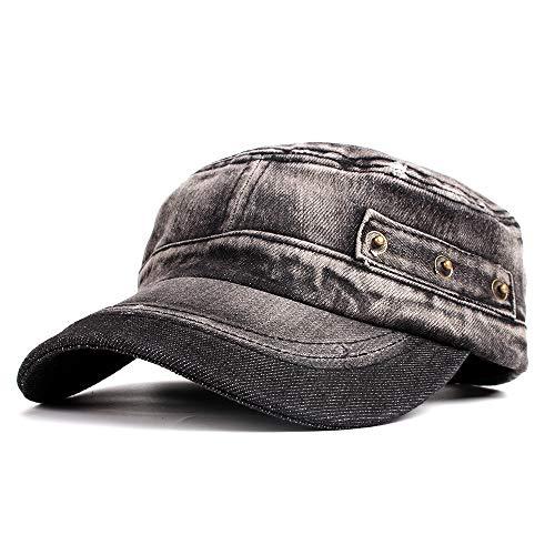 Vintage Washed Denim Cotton Peaked Baseball Cap Distressed Cadet Army Cap Millitary Corps Hat Cap Visor Flat Top Adjustable Baseball Hat Black