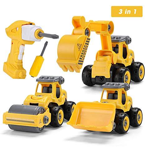 Sundaymot Montage Bagger Spielzeug - Elektrisches baufahrzeuge Spielzeug Set mit...
