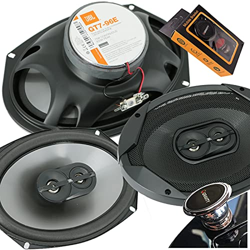 JBL GT7-96 300 Watts 6x9 Club Series 3-Way Coaxial Car Speakers with Gravity Magnet Phone Holder Bundle
