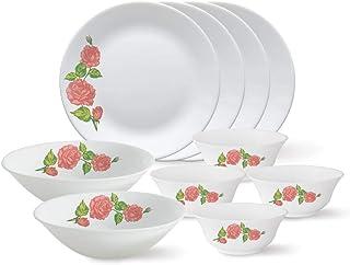 Larah by Borosil - Tiara Series, Rose Gold, 10 Pcs, Opalware Dinner Set, White