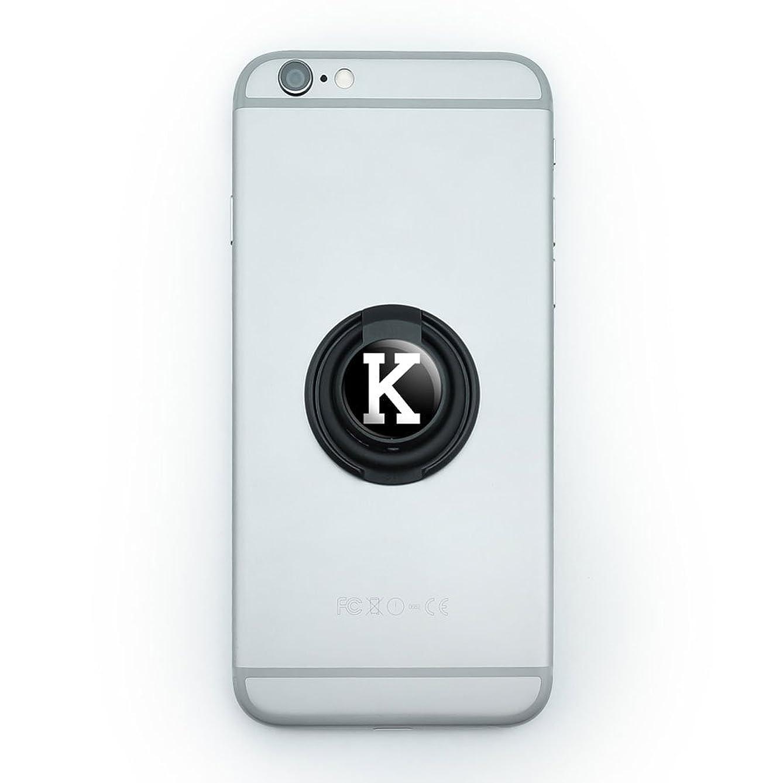 Mobile Smart Phone Finger Ring Grip Holder Stand Letter Initial Black White - K Initial