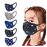 5 Stück Kindermäsk Kinder Mundschutz Niedlich Cartoons Bandana Loop Atmungsaktive Baumwolle Waschbar Halstuch Outdoor Anti-Staub Waschbar Mund-Nasenschutz