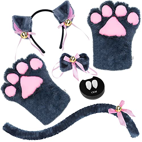 Abida Cat Cosplay Costume - 5 Pcs Cat Ear and Tail Set with Collar Paws Gloves and Vampire Teeth Fangs for Lolita Gothic Halloween-Grey