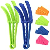 RUIMAICAN Window Blind Cleaner Duster Brush Kit 2 Pack Brush with 6 Microfiber Sleeves - Blind Cleaner Tools for Window Blinds Air Conditioner Jalousie Dust