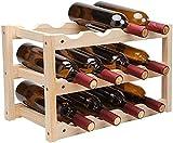 AERVEAL Almacenamiento de Vino Estante de Vino de Madera Maciza Decoración Del Hogar Estante de Madera para Vino Estante para Botellas 12 Estante de Bambú Estante de Exhibición de Restaurante Almacen