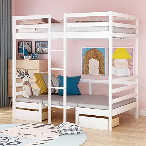 Space-Saving Functional Bunk Beds with Cushion (Turn into Upper Bed & Down Desk), Twin Size (White)