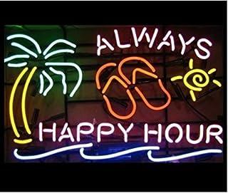 "Urby 20""x16"" Always Happy Hour Palm Tree Beer Bar Pub Neon Light Neon Sign -Excellent & Unique Handicraft! U51"