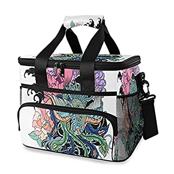 JIUCHUAN Cooler Bag Traditional Japanese Peacock Tattoo Peacock Peony 15l Large Insulated Lunch Bag Picnic Cooler Ice Bags