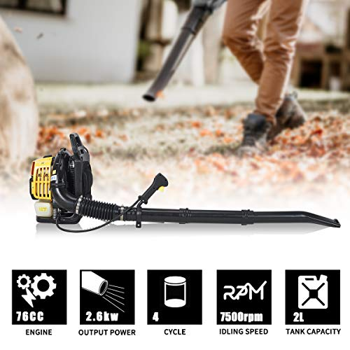 MELLCOM Cordless Leaf Blower,76cc 4 Cycle Engine Backpack Blower,Gas Powered Blower 750CFM for Lawn Garden Blowing Leaves, Snow Debris and Dust
