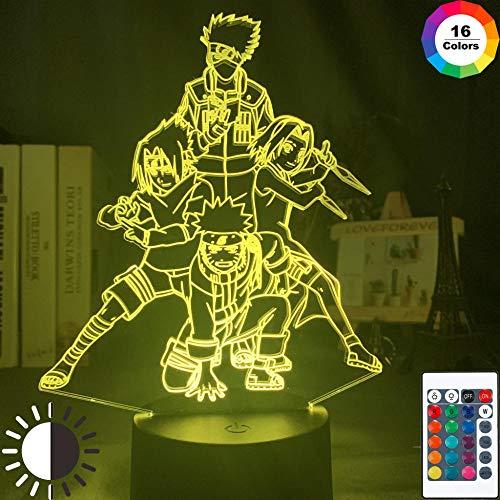 3d Illusionslampe Naruto Team 7 Uzumaki Naruto Sasuke Sakura Kakashi Figur Jungen Schlafzimmer Dekor Lichter Kinder LED Nachtlicht Geschenk