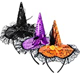 3 Pieces Halloween Witch Hat Headband Witch...