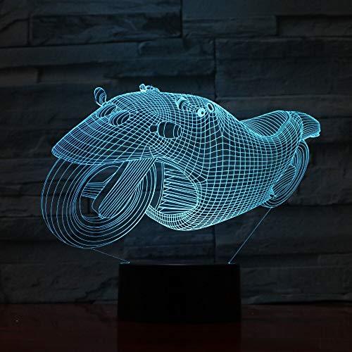 Gradientes de motocicleta súper geniales USB 3D LED Lámpara de mesa de luz nocturna Decoración de cabecera Regalo de niños