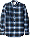 Amazon Brand - Goodthreads Men's Standard-Fit Long-Sleeve Brushed Flannel Shirt, navy blue plaid, Small