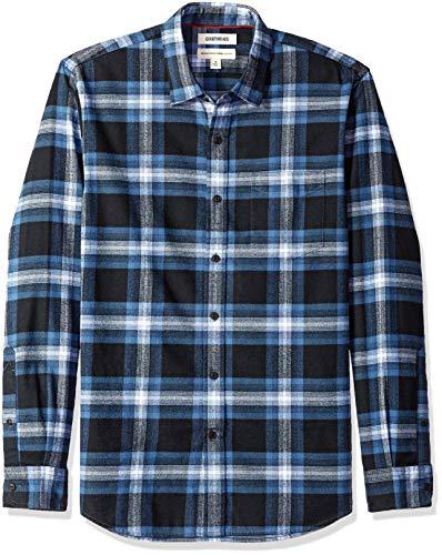 Amazon-Marke: Goodthreads, Herrenhemd, langärmlig, normale Passform, gebürstetes Flanell, navy blue plaid, US XL (EU XL - XXL)