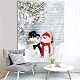 LB Modern Couple Snowman Tapestry,Hug A Letitsnow Placard in Winter Snow Tapestry Closed Grey Wood Board with Pine Leaves Merry Christmas Wall Tapestry for Bedroom Living Room 60''Lx40''W
