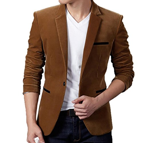 2018 Wintialy Men's Autumn Winter Casual Corduroy Slim Long Sleeve Coat Suit Jacket Blazer Top Khaki