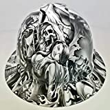 Wet Works Imaging Customized Pyramex Full Brim Hydro Dipped in White Soul Reaper Hard HAT with Ratcheting Suspension Custom LIDS Crazy Sick Construction PPE