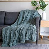 Soft Fuzzy Faux Fur Throw Blanket ,50'x60',Reversible Lightweight Fluffy Cozy Plush Fleece Comfy Furry Microfiber Decorative Shaggy Blanket for Couch Sofa Bed,Blue Gray