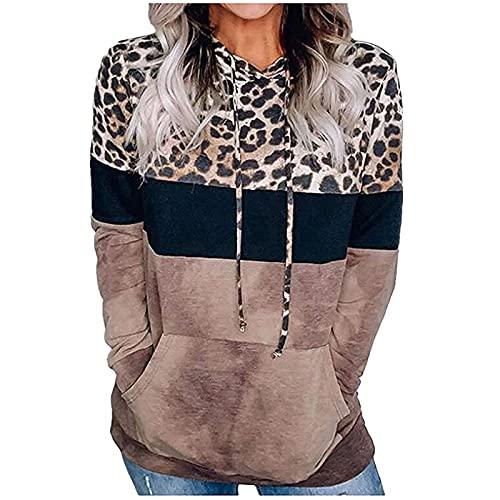 Wave166 Sudadera con capucha para mujer, estampado de leopardo, patchwork, ligera, fina, con cordón, con bolsillos, manga larga, holgada, deportiva, con botones, para otoño e invierno