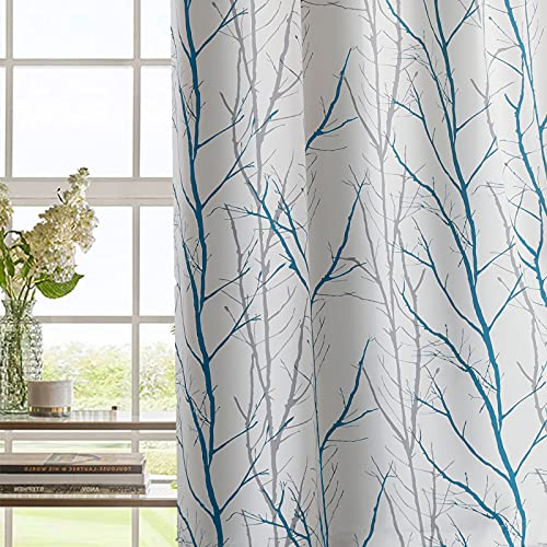 Stiio Tree Branch Print Curtains 84 Inches Long for Bedroom, Teal Green and Grey Fashion Light Blocking Window Drapes for Kitchen Dining Home Office, 52 x 84 Inches, 2 Panels