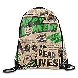 engzhoushi Mochila de Cuerda,Bolsa de Cuerdas Happy Halloween Oxford Fabric Shoulders Buggy Bag